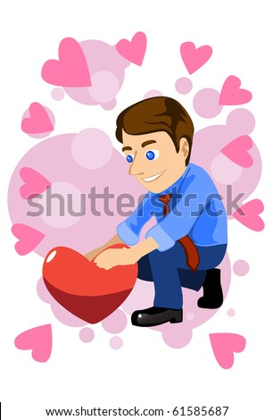 Image of a man who is holding a heart with pure love.