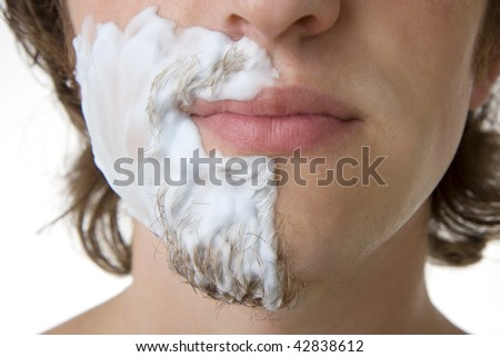 Image of a man who shaves - stock photo