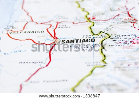 Image of a map showing Santiago, the capital of Chile, South America.