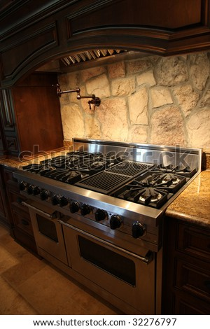 Image of a million dollar modern middle Tennessee Home. Gas stainless steel oven and stove.