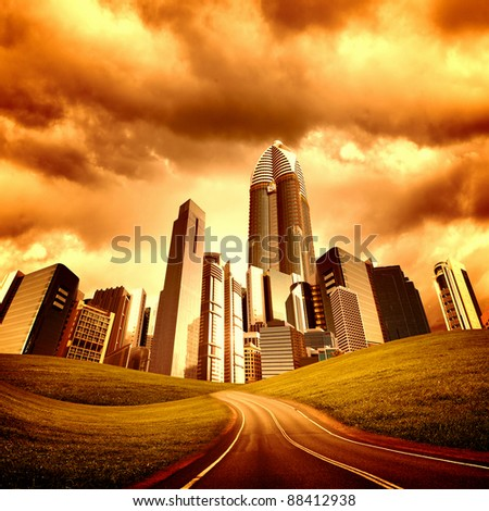 Image of a modern city and road  leading to it