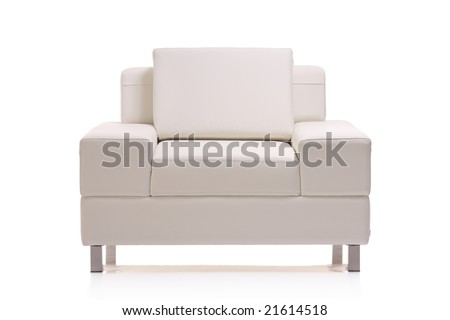 Image of a modern leather armchair isolated on white background