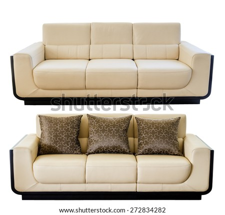 Image of a modern white cream leather sofa isolated against white background #272834282