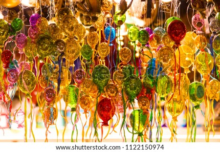 Stock Photo Image of a multicolored glass ballons. Celebration, murano glass