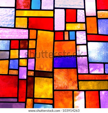 Image of a multicolored stained glass window with irregular block pattern , square format #103914263