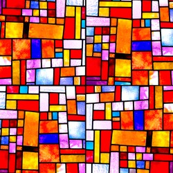 Image of a multicolored stained glass window with irregular random block pattern, square format