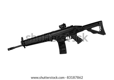 Image of a .556 NATO Tactical Rifle on a white background