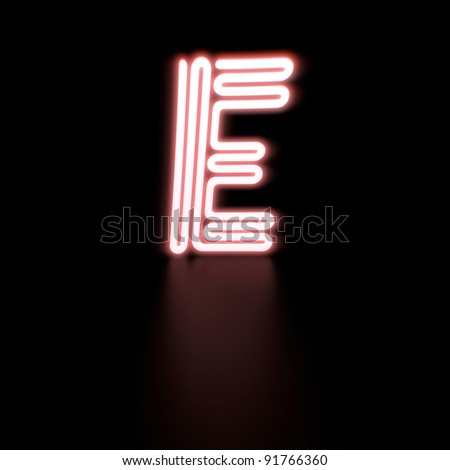 """Image of a neon letter """"E"""" against a dark background."""