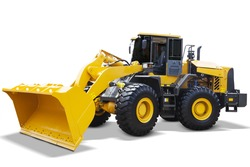 Image of a new wheel loader with yellow color and a big scoop, isolated on white background