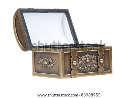 Image of a open gold chest isolated on a white background.