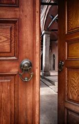 Image of a pair of doors, half open. Istanbul, Turkey.