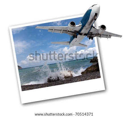 Image of a passenger airplane in the photo with sea views.