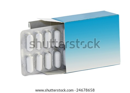 Image of a pills blister getting out form the box over white background - stock photo