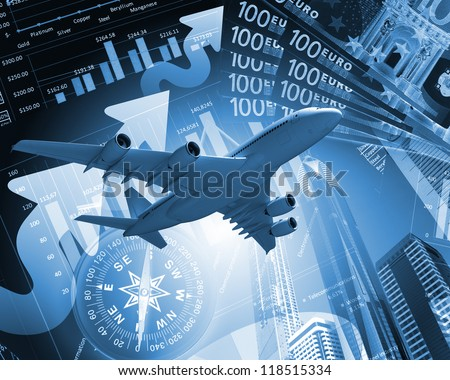 Image of a plane against business background