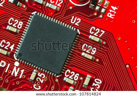 Image of a printed circuit board with electronics components