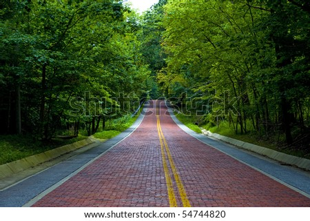 Image of a red brick road leading off into the distance through a wooded area
