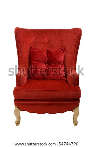Image of a red chair on white