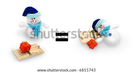Image of a small snowman toy looking at a mousetrap with a small gift as the bait, and the resulting trapped snowman.
