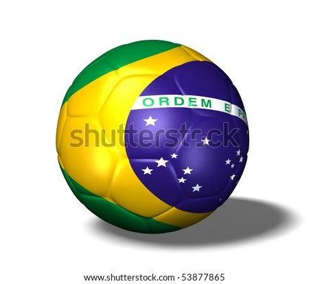Image of a soccer ball with the flag from Brazil.