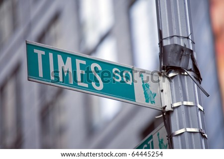 Image of a street sign for Times Square, New York