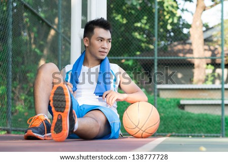 Image of a sweating basketball player sitting in the park