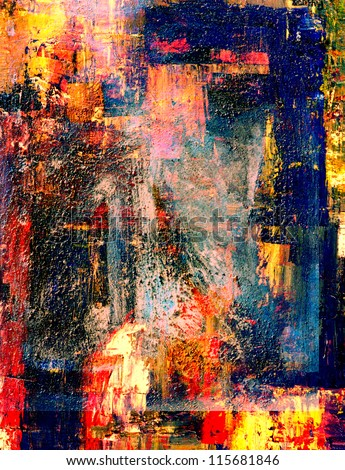 Image of a very mixed media oil Painting on canvas