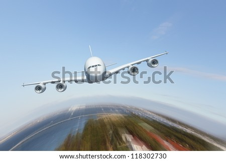 Image of a white flying passenger plane - stock photo
