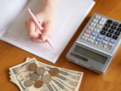 Image of a woman filling out a pocket money book