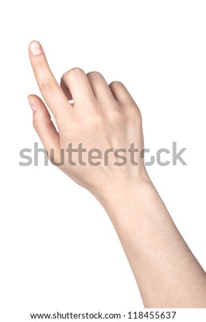 image of a woman's finger pointing  or touching isolated on a white background