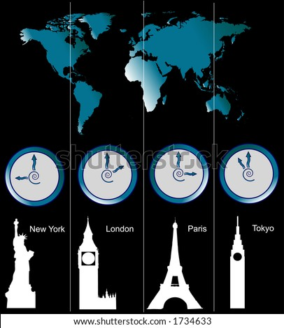 Image of a world map with clocks showing time of four cities (New York, London, Paris and Tokyo) and famous attractions in those cities