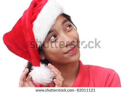 Image of a young lady wishing for christmas