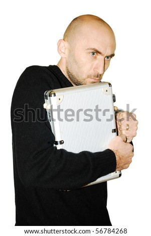 image of a young man protecting his metal case isolated on white