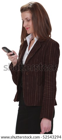 Image of a young woman checking her mobile phone,isolated against a white background.