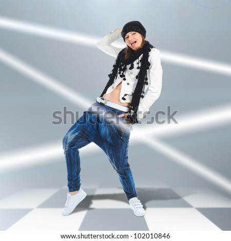 image of a young woman dancer jumping. - stock photo