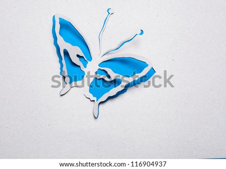 Image of abstract blue butterfly handmade.Eco background.