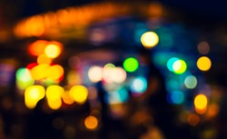 image of Abstract blurred bokeh background with warm colorful lights.