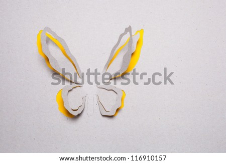 Image of abstract yellow butterfly handmade.Eco background.