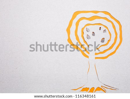 Image of abstract yellow tree handmade.Eco background.