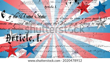 Image of american constitution text over american flag star and stripe elements. patriotism, independence and celebration concept digitally generated image.