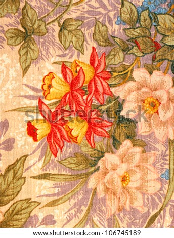Image of an antique floral fabric. Professional shooting.