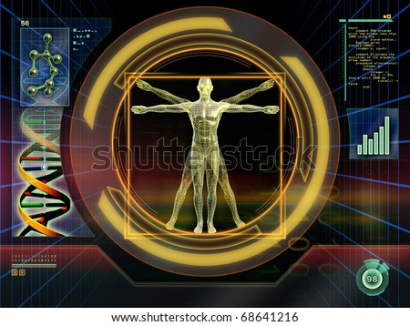 Image of an ideal figure male analyzed by an high technology software. Digital illustration. - stock photo