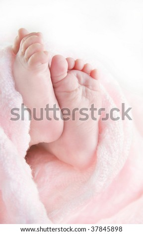 Image of an infants tiny feet and toes surrounded by a pink blanket with a white background.  Used a shallow depth of field.