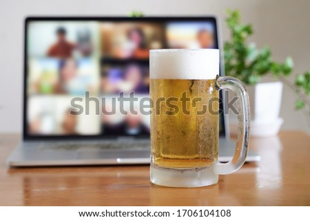 Image of an online drinking session using a computer