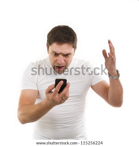 Image of angry young man with mobile phone