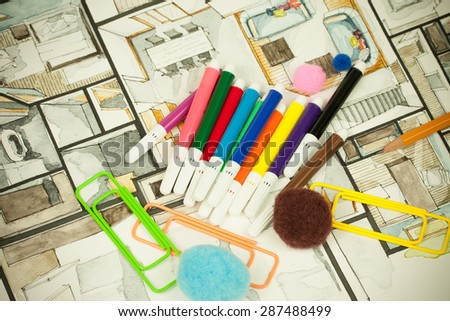 Image of architectural design floor plan sketch drawing illustration of interior decoration apartment part with crayons, suitable for explaining playful approach to real estate business and design - Shutterstock ID 287488499