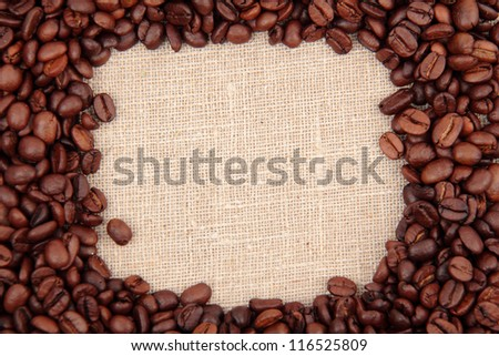 Image of aroma coffee beans frame over light  brown linen texture