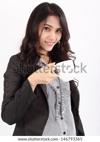 Image of asian business woman drinking coffee on white background