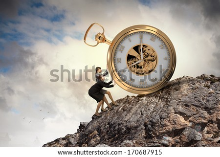Photo of Image of attractive businesswoman and pocket watch. Time for business
