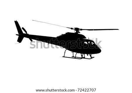 Image of Back helicoptor flying  against a white background