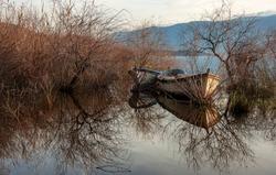 Image of Bafa lake, boats and bushes on the lake